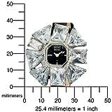 Badgley Mischka Women's BA1133BKBK Silver-Tone CZ Flower Shaped Bezel Black Strap Watch