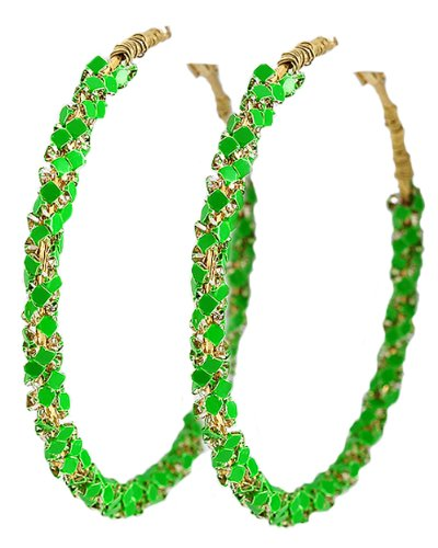 Gold Tone Green Color Coated Metal Hoop Clip Back Earrings