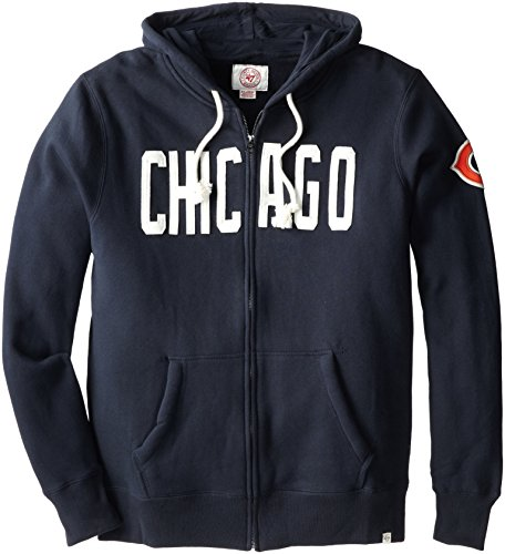 NFL Chicago Bears Men's '47 Brand Cross-Check Full Zip Hood, Fall Navy, X-Large (Chicago Bears Hoodie compare prices)