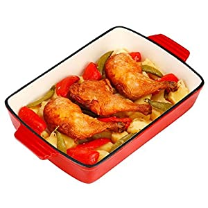 VonShef Cast Iron Cooking/Oven to Table Dish/Roasting Tray/Cookware/Lasagna Pan, Red