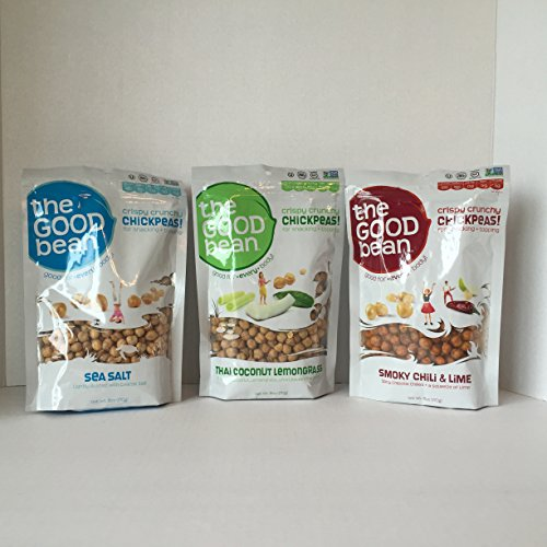 GLUTEN FREE: The Good Bean Roasted Chickpea Snack Variety Pack of 3- Large 6oz each (Sea Salt, Smokey Chili & Lime and Thai Coconut Lemongrass) Plus a Bonus Free Quick and Easy Fruit Smoothie Recipe by Z-Organics. The Perfect Healthy Bundle for That Summer BBQ, Picnic or Party. (3 Item + Bonus)