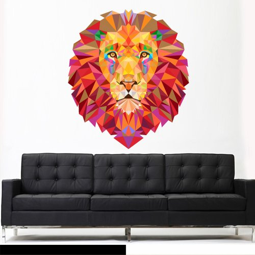 Full Color Wall Vinyl Sticker Decals Decor Art Bedroom Wall Decal Design Mural Lion Leo Lev Lew Triangle (Col755)