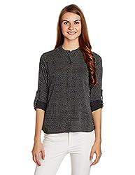 US POLO Women's Button Down Shirt (UWTO0346_Black_Medium)