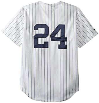 MLB New York Yankees Robinson Cano White Navy Pinstripes Home Short Sleeve 6 Button... by Majestic