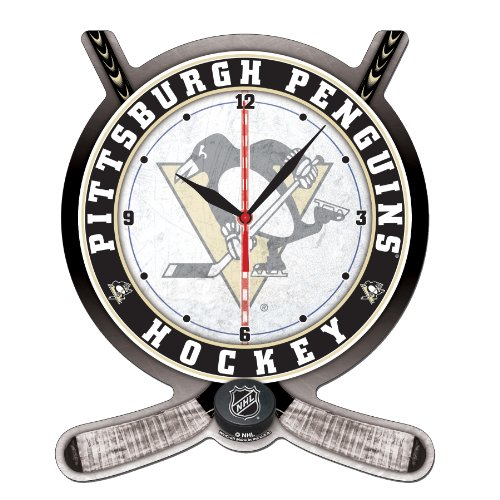 NHL Pittsburgh Penguins High Definition Clock - Hockey Stick and Puck