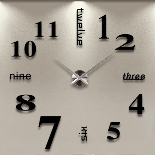iCasso Luxury Large Size 3D Mirror Surface Creative Modern Home Decoration Art Clock DIY Wall Clock Watches Hours Wall Sticker #6 (Black)
