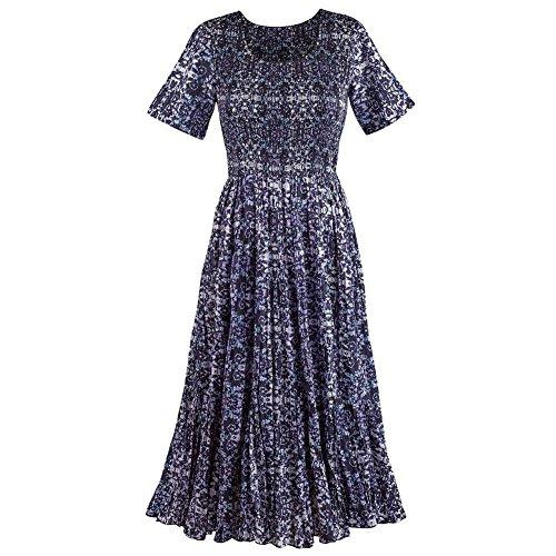Women's Long Maxi Dress - Zeena Ikat Short Sleeve Purple Dress - 3X