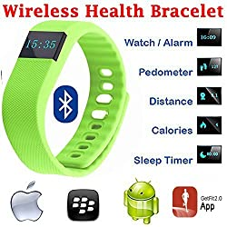 Evana (get free TTL/Trusttel Branded mobile pouch) TW64 OLED Display Bluetooth 4.0 Waterproof Smart Bracelet Watch, Support Pedometer / Sleep Monitoring / Call Reminder / Clock / Remote camera / Anti-lost Function, Compatible with iOS and Android System Watches for men women (Green)
