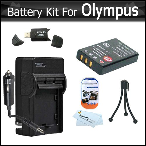 Battery And Charger Kit for Olympus VR-340, SZ-12 XZ-1 SZ-10 SZ-20 SZ-30MR SP-800UZ SP-810UZ SZ-11 SZ-31MR iHS Camera Includes Extended (1000maH) Replacement LI-50B Battery + AC/DC Travel Charger + LCD Screen Protectors + Mini Tripod + USB 2.0 SD Reader