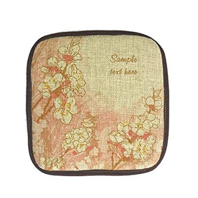 Ushopping Customized Peach Blossom Cotton linen Coasters/Non-Slip/Heat Insulation/Pot Holder/ Coaster/ Placemat/ Hot Pad