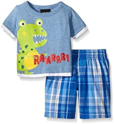 Boys Rock Baby 2 Pc Short Set Dino Rawr, Blue, 24 Months