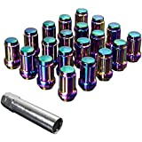 Upgr8 S-series 20 Pieces Steel Closed Ended Wheel Lug Nuts with Key (M12 X 1.25MM, Neo Chrome)