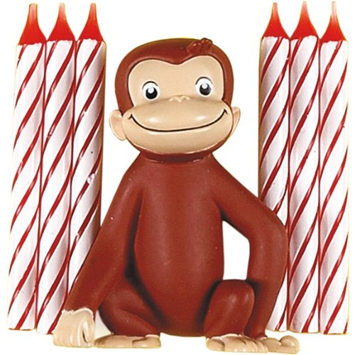 Unique Industries, Inc. - Curious George Cake Decoration with 6 Candles - 1