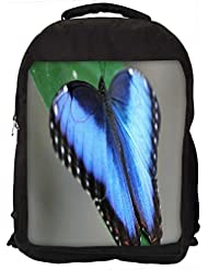 """Snoogg Blue And Black Butterfly Casual Laptop Backpak Fits All 15 - 15.6"""" Inch Laptops"""
