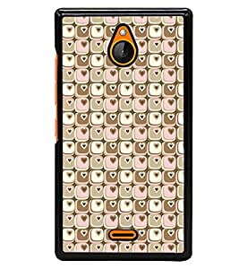 Fuson Premium Cute Hearts Metal Printed with Hard Plastic Back Case Cover for Nokia X2