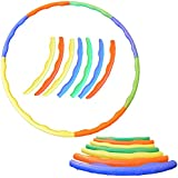 "FunkyBuys® 7pc (Folding) Adults Kids Multicolor Small Large Hula Hoops DIA:70cm (27.5"" Inches) Sporting Good Fitness"
