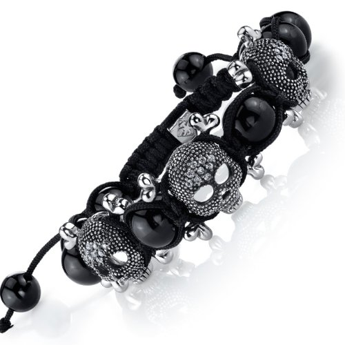The Ultimate Stainless Steel 3 Skull Crossbones Shamballa Adjustable Bracelet with Black Onyx Beads and CZ 12MM