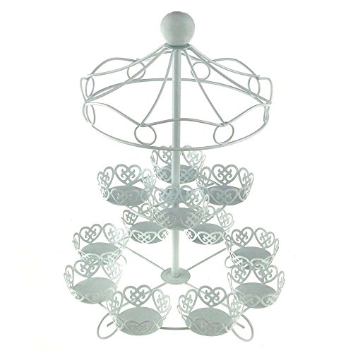 Charmed Carousel Cupcake Stand, Holds Up To 12 Cupcakes, White (Carousel Cupcake Stand compare prices)