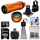 Panasonic HX-A1 HD Wi-Fi Waterproof POV Action Video Camera Camcorder (Orange) with Multi & Tripod Mounts + 32GB Card + Reader + Kit