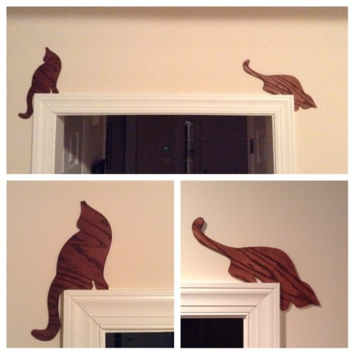 Car Decor, Cat Silhouette Set Of Two (Mahogany Stained)