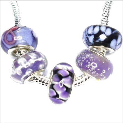 Charm Buddy 5 x Purple Glass Beads Set with Silver Plated Cores, Fits Pandora/Troll /Chamilia Bracelets #st69