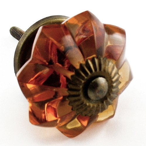 Old Amber Glass Cabinet Knobs, Drawer Pulls & Handles Set/2pc ~ K85 Old Amber Melon Style Glass Knobs with Antique Brass Hardware ~ Glass Knobs, Handles & Pulls for Dresser, Drawers, Cabinets & Vanity 2
