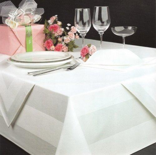 DHT Baumwolle - Tovaglia damascata, 130 x 280 cm, lavabile fino a 95°, colore: Bianco