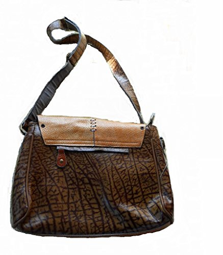 Handmade Brown Genuine Leather Vintage 60's Hippie Western Style Rustic Handbag