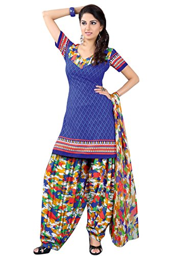 Vibes Women's Pure PV Cotton Unstiched Dress Materials (V215-32006_Blue)