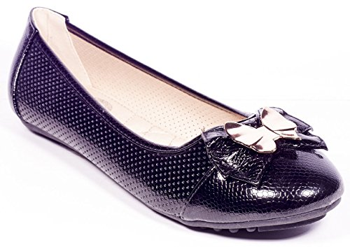 ONE Women Ballerina Flats Shoes, Bow & Buckles Accents, B-2045