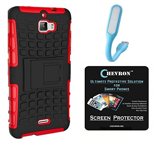 Chevron Hybrid Military Grade Dual Armor Kick Stand Back Cover Case for Coolpad Dazen 1 with HD Screen Guard & Mini USB LED Light Lamp (Red)