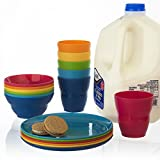 18pc Ellie Toddler-Sized Plastic Tumblers, Snack Bowls & Snack Plates in 6 Colors