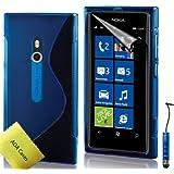 TPU Silikon Case Tasche Hülle Für Nokia Lumia 800 Etui Schutzhülle Schutzfolie, Reinigungstuch, Mini Eingabestift AOA CasesTM (Blau)