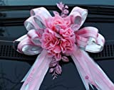 Giant Car Bow Extra Large Birthday Valentine Present 30 cm Luxury Silver+Baby Pink Bow
