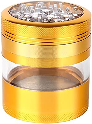 "Zip Grinders - Large Spice & Herb Grinder - Four Piece with Pollen Catcher - 3.25 Inches Tall - Premium Grade Aluminum (2.5"", Gold)"