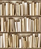 Ivory Cream / Brown - J43027 - Photo Bookcase Bookshelf Library - Muriva Wallpaper