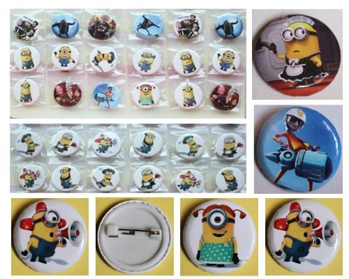 "Despicable Me Buttons Set Birthday Party Favors Set of 24 Minion Party Backpack 2"" Buttons"