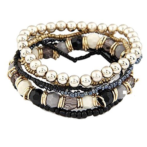 Doinshop 1 Set 7pcs Elegant Boho Ankle Chain Multilayer Beads Wrist Strap Bracelet (black) by Doinshop