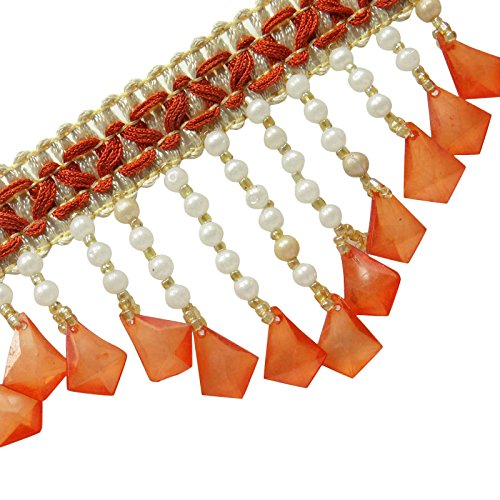 Beaded Upholstery Orange Curtain Fringe Ribbon Trim Supplies Crafting By The Yard