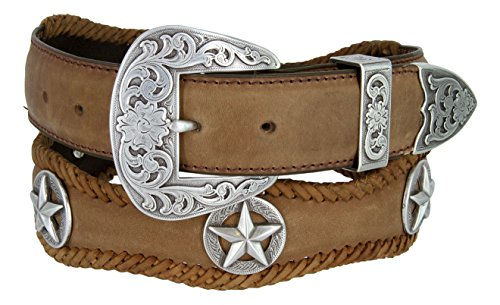 Mens Austin Texas Stars Conchos Western Leather Scalloped Belt(Brown,34)