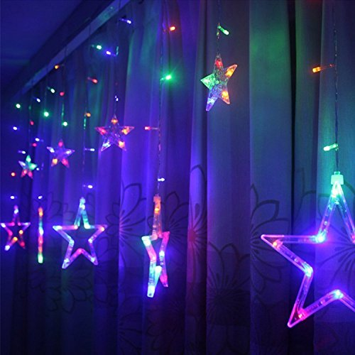 Taikang LEDカーテンライト イルミネーションライト 星型ライト 138LED 2m×1m クリスマスツリー 8種類点灯パターン 複数連結可能 コントローラ付き ウェディング/パーティー/クリスマスなどイベントに大活躍 室内外装飾用 (マチルカラー)
