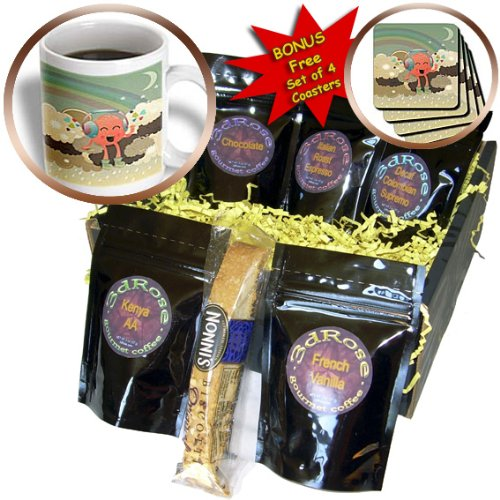 Cgb_104598_1 Dooni Designs Fantasy Designs - In The Clouds With Rainbow Happy Music Monster Wearing Headphones - Coffee Gift Baskets - Coffee Gift Basket