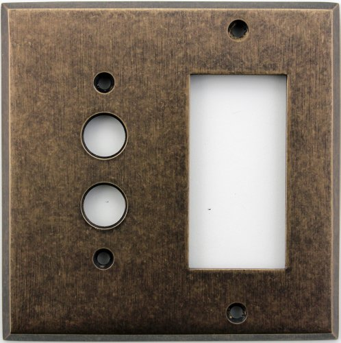 Classic Accents Aged Antique Brass Two Gang Wall Plate - One Push Button Light Switch Opening One Gfi/Rocker Opening