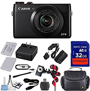 Canon PowerShot G7 X Digital Camera - Wi-Fi Enabled + Extra Replacement Battery + Original Accessories + Extremespeed 32GB Commander Memory + Spider Flexible Tripod + Carrying Case + 12pc Bundle