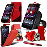ONX3 8-IN-1 MEGA PACK SONY XPERIA Z1 COMPACT PREMIUM PU 3 CARD SLOTS Leather flip Case Skin Cover + LCD Screen Protector Guard + S Line Wave Gel Case + 360 Rotating Car Holder + 3.5 MM Earbud Earphone + Micro USB Flat Cable + Bullet Car Charger + Large T