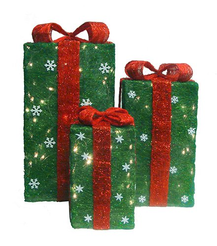 Christmas Outdoor Decore Set Of 3 Tall Green Sisal Gift