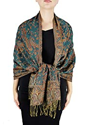 Peach Couture Double Layer Reversible Paisley Shawl Wrap Scarf Pashmina Green and Gold