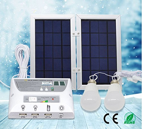 Portable Solar Power Mobile Lighting System, Home Emergency Lights/ Phone Charger with USB Port/ Power Bank for Indoor & Outdoor Activities (RV Camping, Patio) (Controller Box, 2 x 3.7V/2W LED Bulbs) (Portable Generator Shelter compare prices)