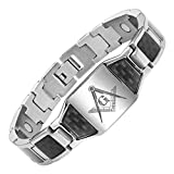 MasonicMan Men's Titanium Magnetic Bracelet with Masonic Logo and Black Carbon Fiber Adjustable