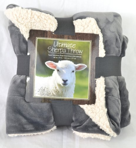 Ultimate Sherpa Throw Blanket 60 In X 70 In (Grey)